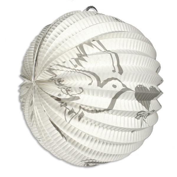 Weisser Lampion, mit 2 weissen Tauben, Durchm. ca. 22cm