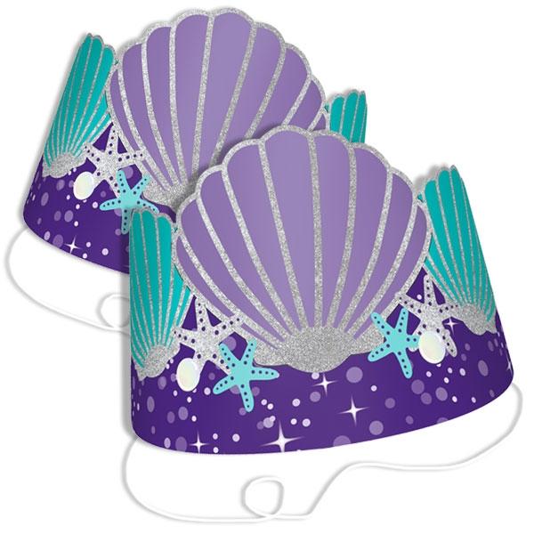 Meerjungfrau Papphütchen, 8 Stk, Glitzer Partyhüte
