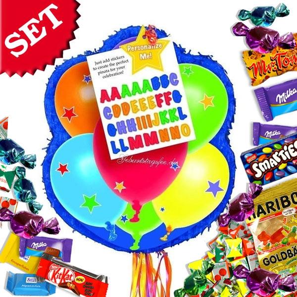 Zug-Pinata-Set für Ballonparty, mit Pinata und Süßigkeitenfüllung