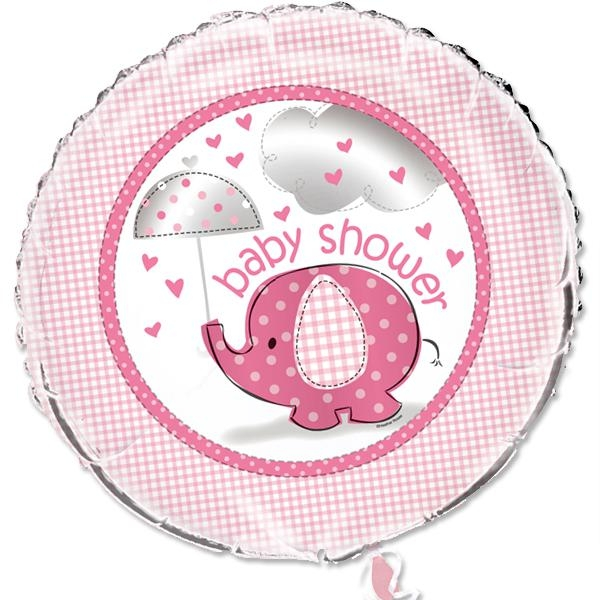 Baby Shower Elefant Folieballon pink, ca. 45 cm, tolle Geschenkidee