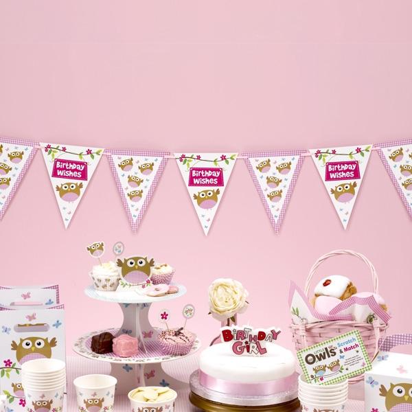 Kleine Eule Wimpelkette in Rosa für Babyparty zur Mädchen-Geburt 3,5m