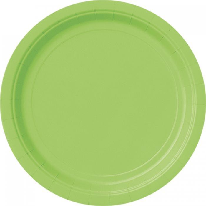 Pappteller einfarbig grasgrün, runde Partyteller im 8er Pack, 23 cm