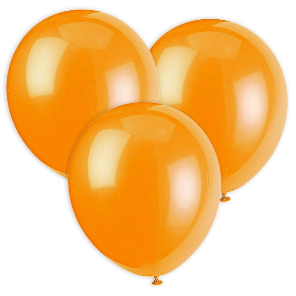 Orange Luftballons, 30cm, 10 Stück aus Latex, ideal für Heliumfüllung