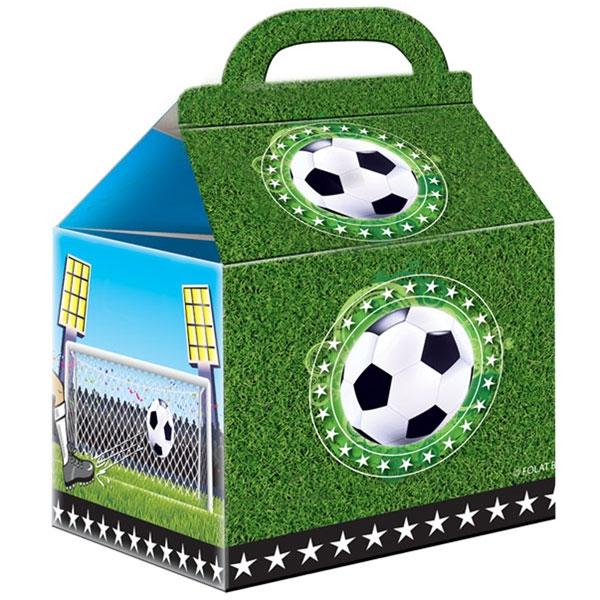 Fußball Geschenkboxen 4er Pack 14cm, Falttaschen, bedruckte Pappe