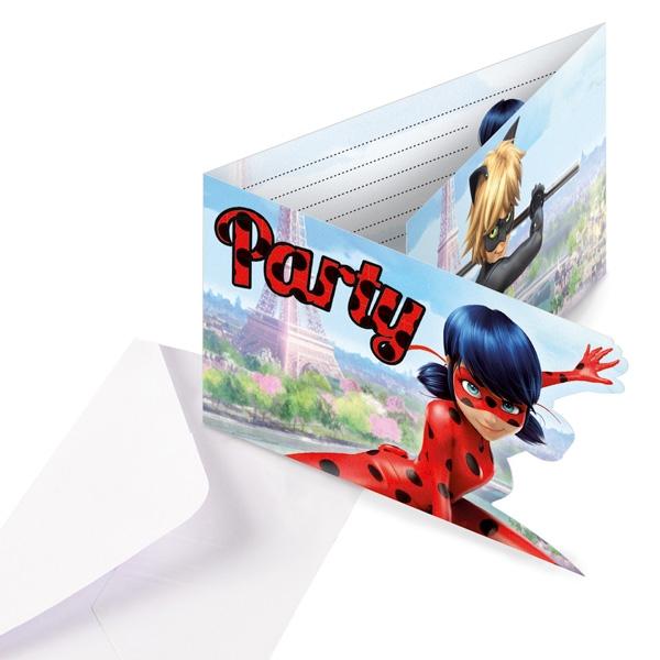 Miraculous Einladungskarten, 8 Ladybug Einladungen Kindergeburtstag +Umschläge