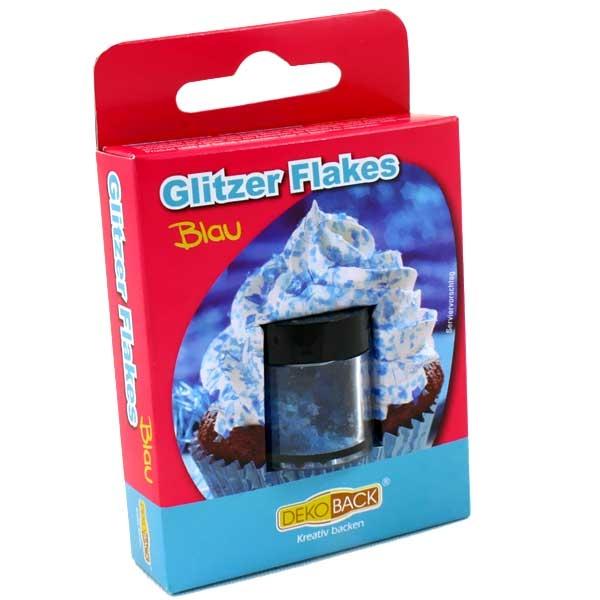 Essbare Glitter-Flakes in blau, 1,5g Döschen, Streudekor