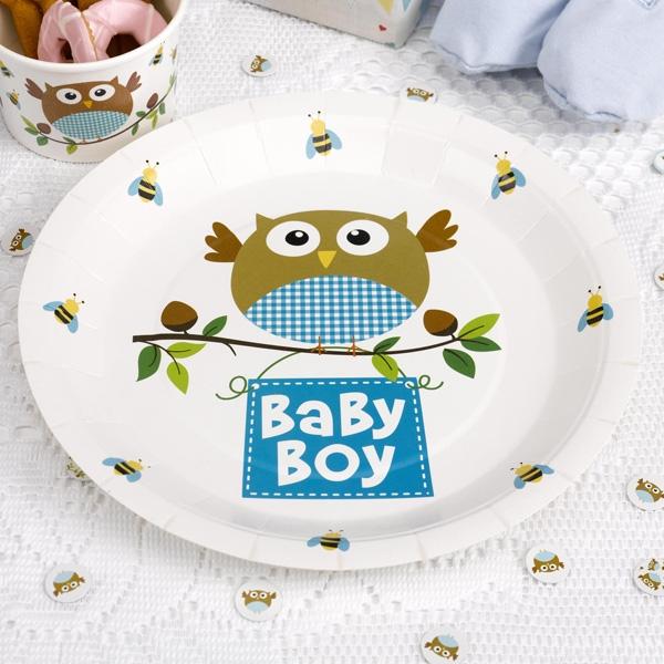 """Geburtstagsteller Kleine Eule """"Baby Boy"""", ca. 23cm, 8er Pack"""