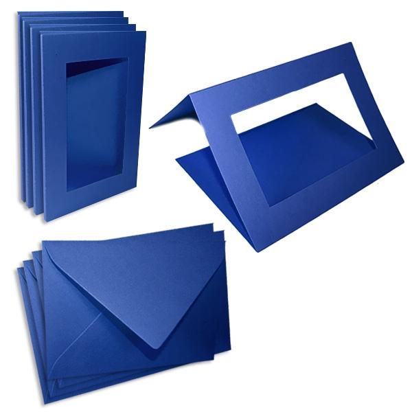 Passepartoutkarten königsblau, 5er Pack mit passenden Umschlägen