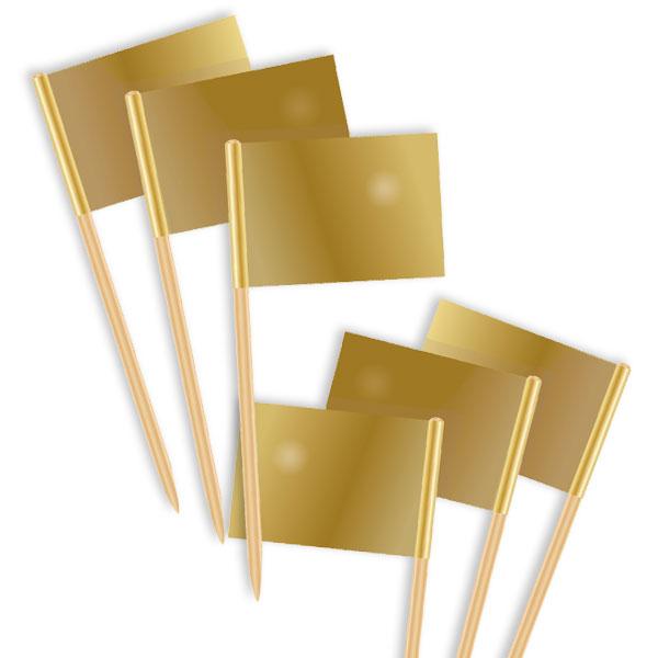 Dekopicker, Fähnchen, gold, 50 Stück