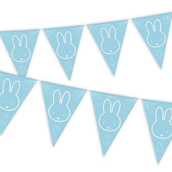 blaue Wimpelkette mit Miffy, dem Häschen, für Babyparty, 10m lang