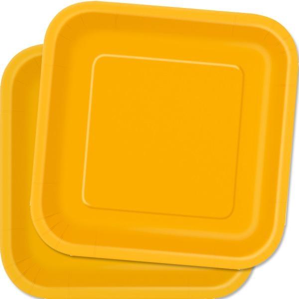 Eckige Partyteller in Gelb, 14 Stück, quadratische Pappteller, 23 cm