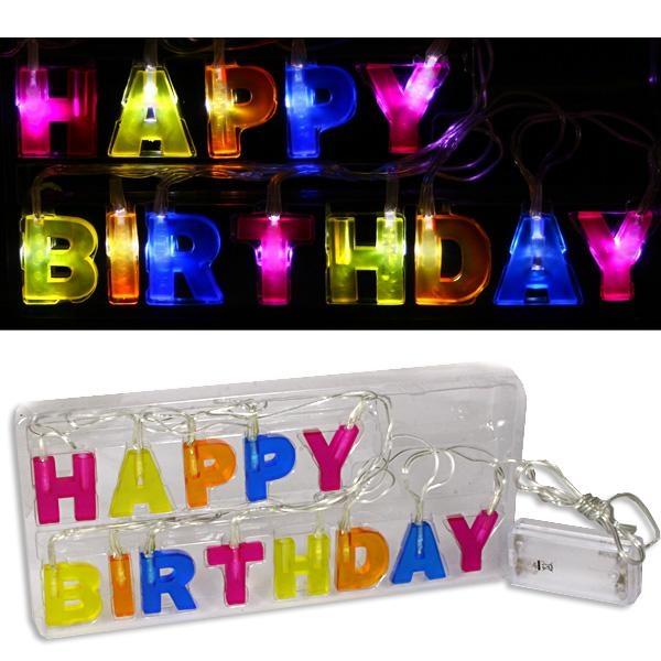 Happy Birthday - Lichterkette, LED Beleuchtung, batterie-betrieben