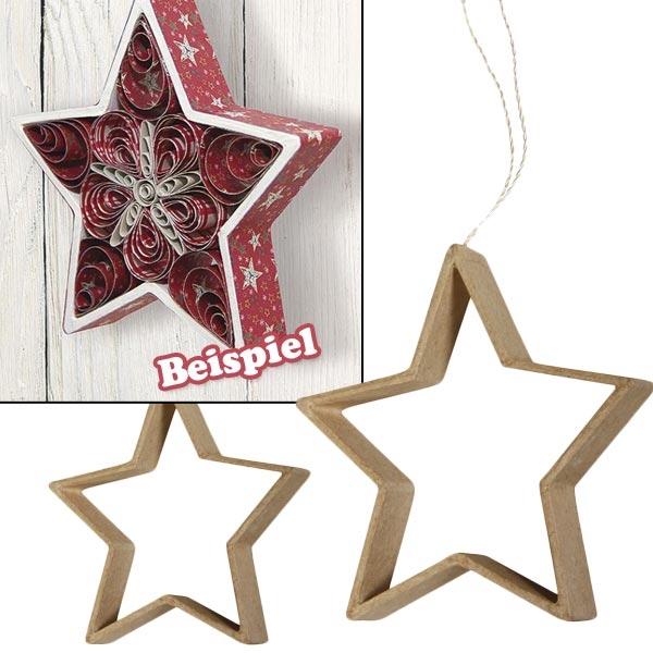 Sterne 2er Set, Papp-Anhänger zum Bemalen f.Weihnachtsdekoration +Band