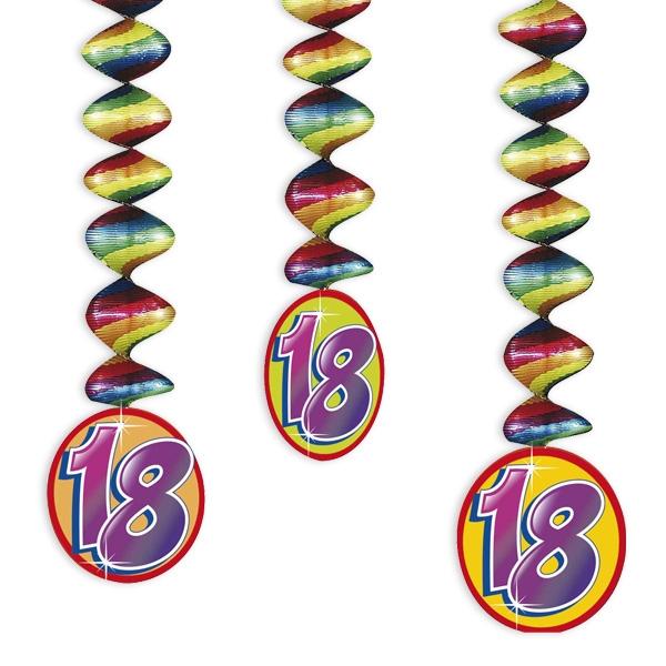 "Rotor-Spiralen, Zahl ""18"", Regenbogen-Farben, 3 Stück"