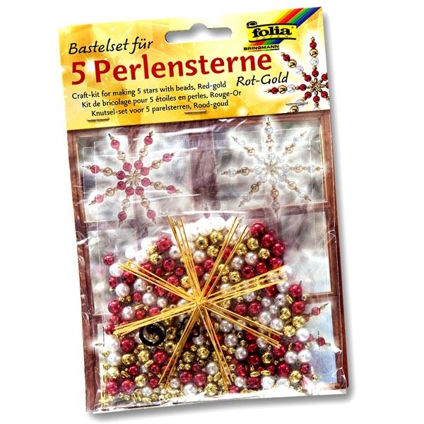 Bastelset Perlensterne rot, ideal für Weihnachtsbaumschmuck