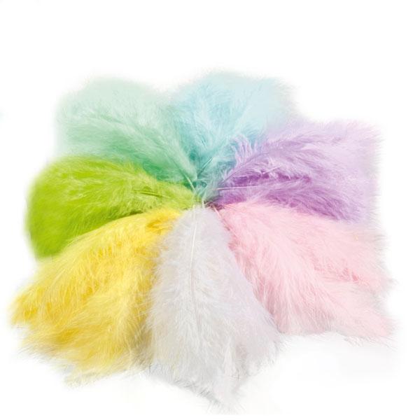 Flausch-Federn in zarten Pastellfarben, 10g, zum Basteln und Verzieren, 8-12cm