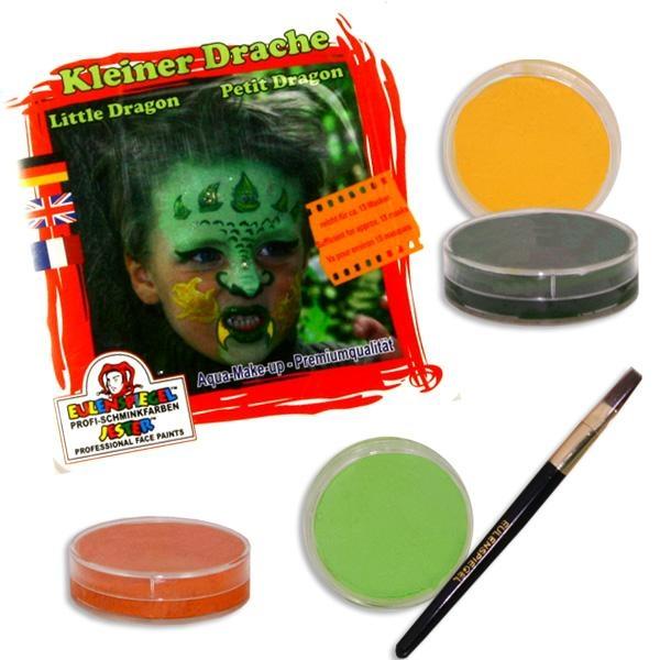 Kinderschminke-Set kleiner Drache mit 4 Farben für Drachengesicht