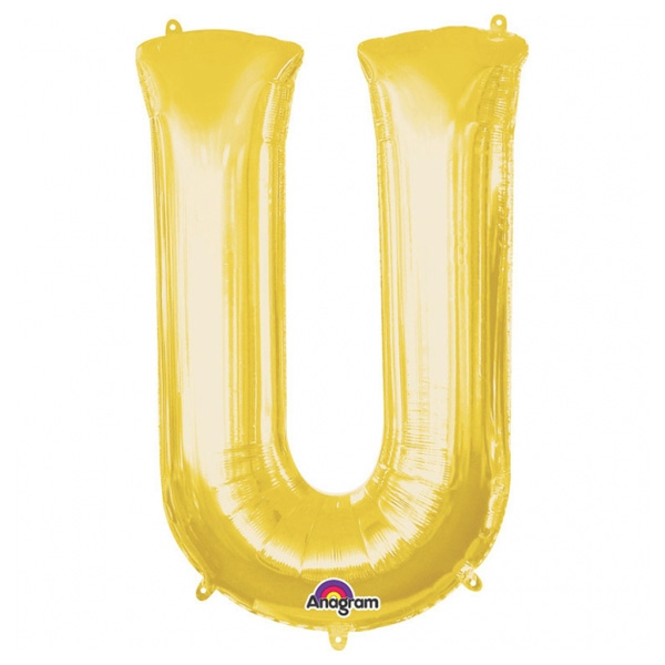 "Folienballon Buchstabe ""U"" - Gold, 58 x 83 cm"