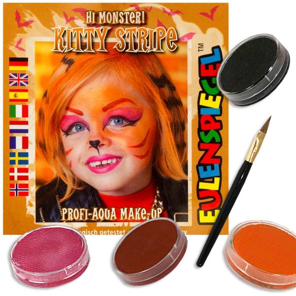 Kinderschminkset Tigerkätzchen, Kitty Stripe, Farben, Pinsel....