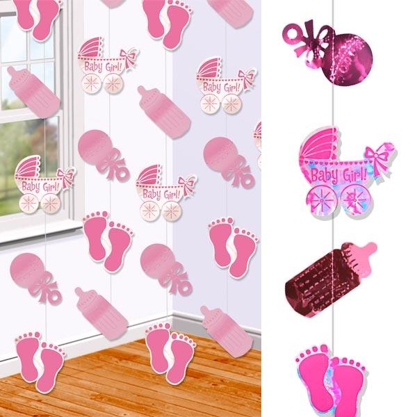 Baby Girl Deko-Stränge, 6 Stück je 2,13m, mit glänzenden Motiven, zur Baby Shower-Party, Hängedeko