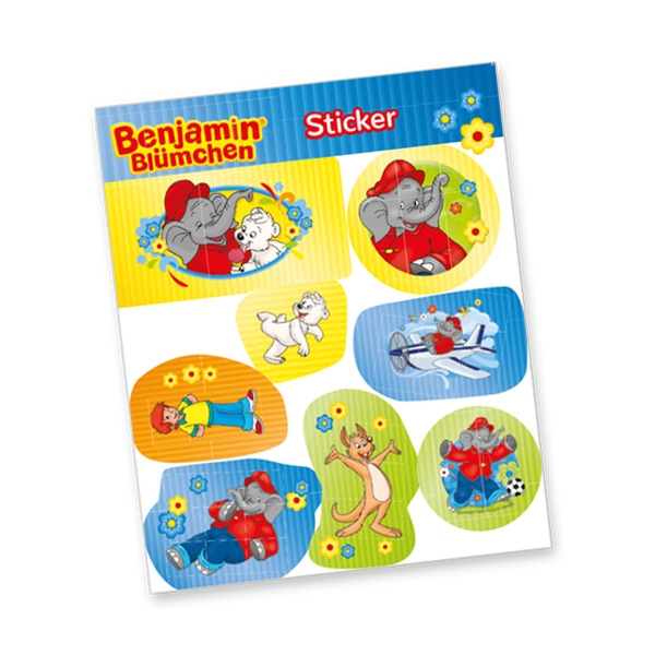"""Stickerbogen """"Benjamin Blümchen"""" mit 8 Stickern"""