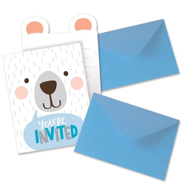 Bärchen Party Einladungskarten, 8 Stk, 10,3cm x 15cm
