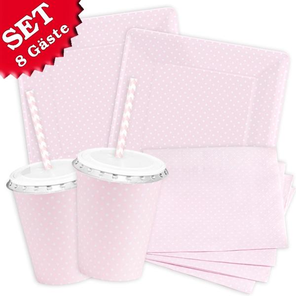 Rosa Pastell - Basic Set, 60-teilig für bis zu 8 Gäste
