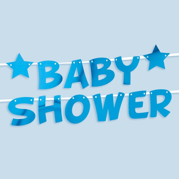Baby Shower Buchstabenkette in blau, 2,5m