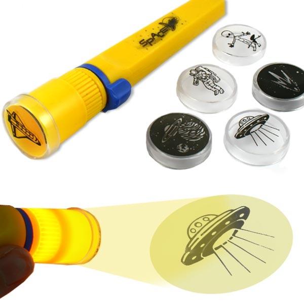 Projektor Taschenlampe, 17cm, mit 6 Aufsätzen zum Thema Weltall