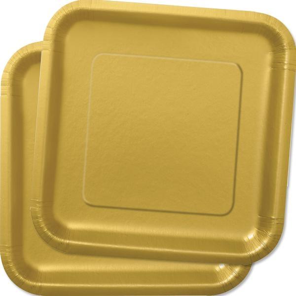 Quadratische Partyteller, praktische Einwegteller in Gold,14er, 22,9cm