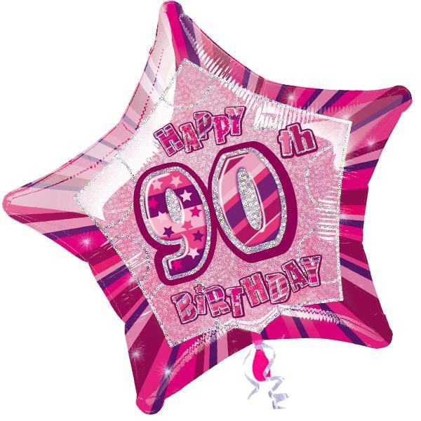 Folienballon sternförmig +Zahl 90, pink, 45cm, für Helium