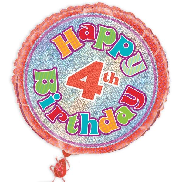 "Folienballon ""Happy 4th Birthday"", prismatisch, Ø 45cm"