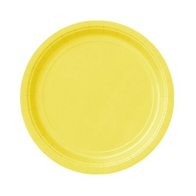 Einfarbige Teller gelb im 8er Pack, Einwegteller für alle Partys, 18cm