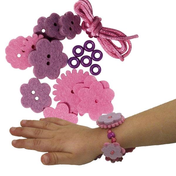 Filzblüten Armband Bastelset, Sarah, 18 Teile, Rosa
