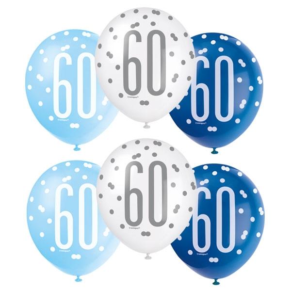 Latexballons mit Zahl 60 + Happy Birthday, blau-weiß, 30cm