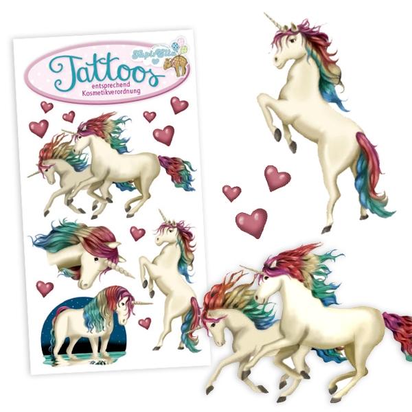 Einhorn Klebetattoos mit Herzen, Einmaltattoos für Mädchen, 1 Karte