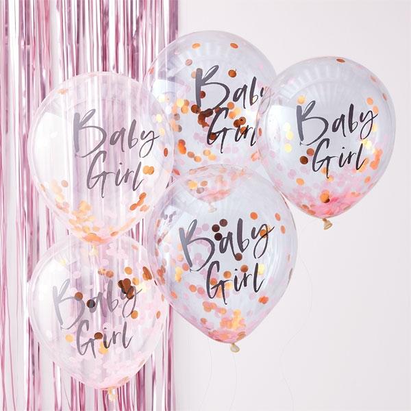 """Babyparty """"Baby Girl"""" Konfetti Ballons, 5 Stk, Ø 30cm, Twinkle Twinkle"""
