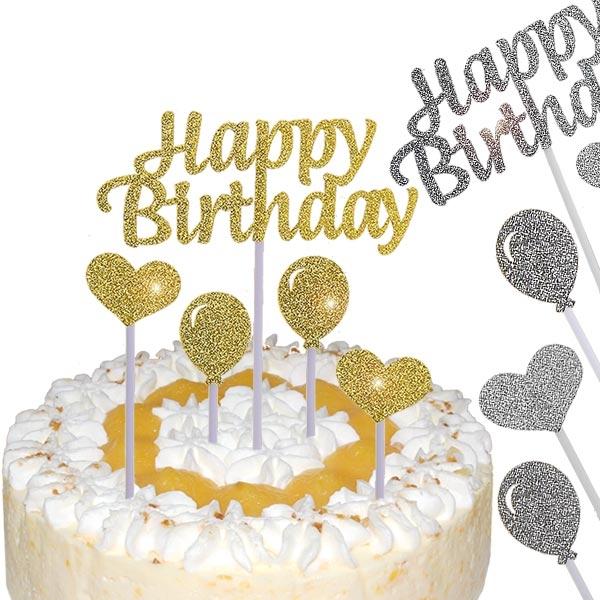 Happy Birthday Kuchen-Picker, gold oder silber, 5-tlg
