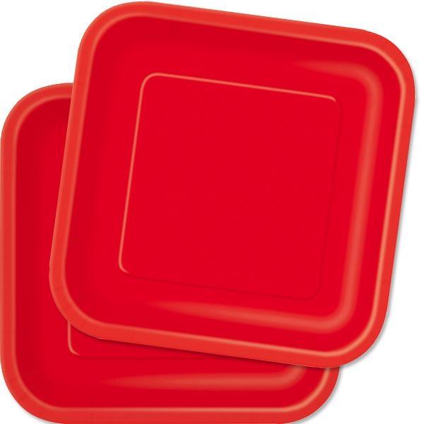 Partyteller eckig in Rot, 14 Stück, quadratische Einwegteller, 23 cm