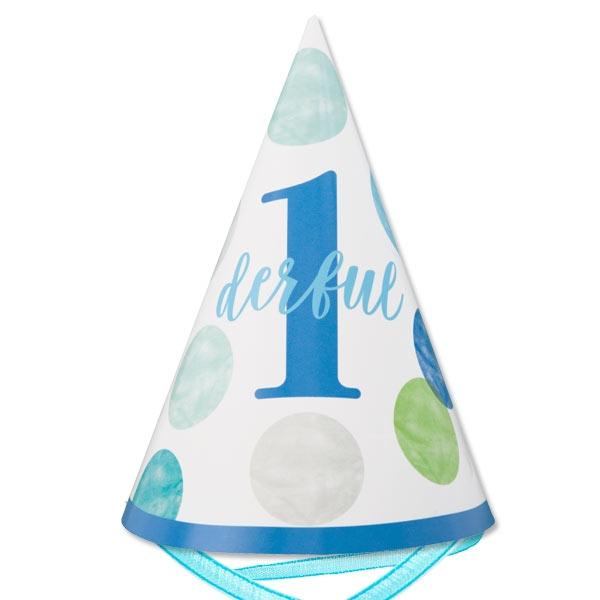 BLUE DOTS Partyhut  1 Stk, mit blauem Band, 1. Geburtstag, 15cm
