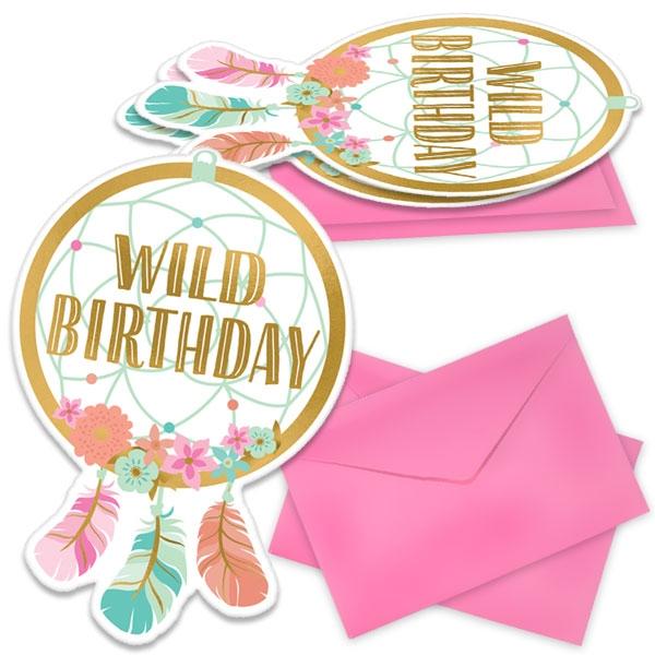 Boho Chic Hippie Party Einladungskarten + Sticker + Umschläge