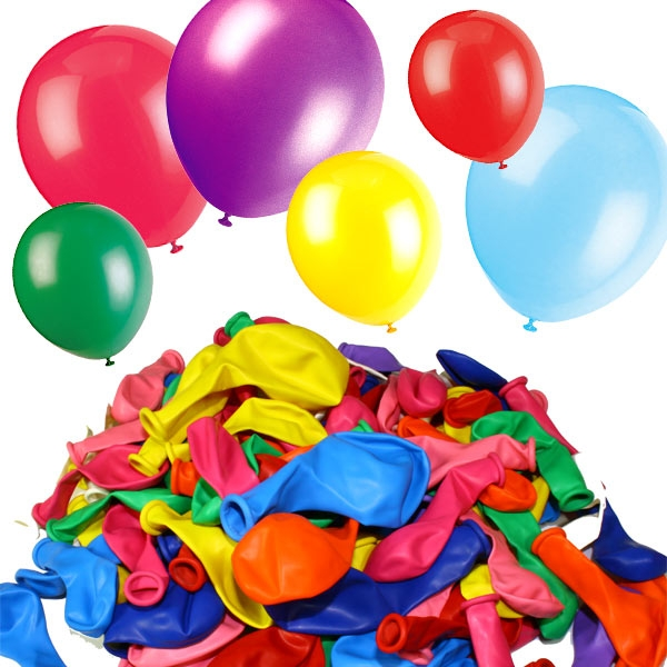 Bunte Luftballonmischung, versch. Farben und Größen im Set, 100 Stück