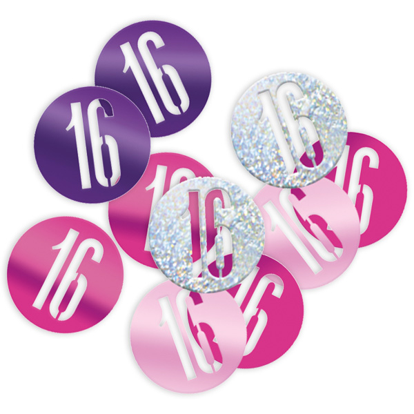 Happy Birthday - Glitzerkonfetti als 16, pink/silbern