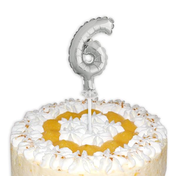 "Mini-Ballon Tortendeko, Zahl ""6"" in silber"