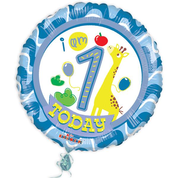 "Folienballon ""I am 1 today"" mit niedlicher Giraffe"