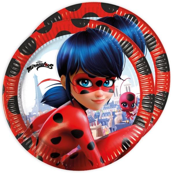 Miraculous Teller, 8er Pack, 23cm, Ladybug-Partyteller für Kinder