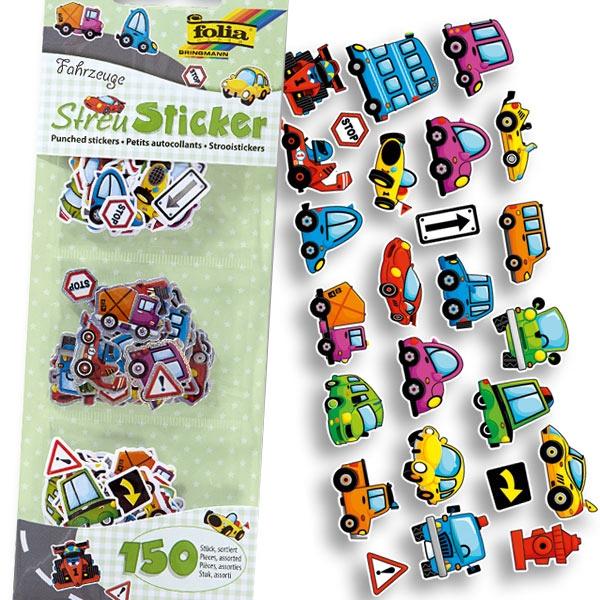 Streu-Sticker Fahrzeuge 150 Stück, kleine Autosticker für Kinder
