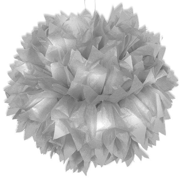 Pompom Deko in Silber, 30cm, Raumdekoration mit Band