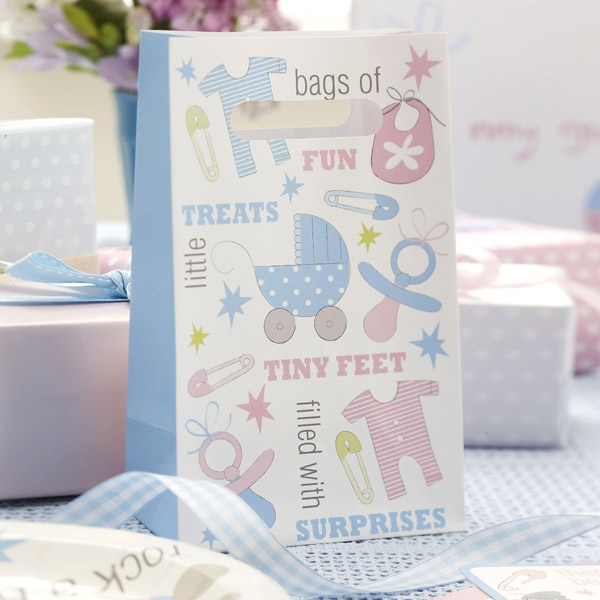 """""""Tiny Feet"""" Babyparty Tütchen, 5er Pack aus niedlich bedrucktem Papier"""