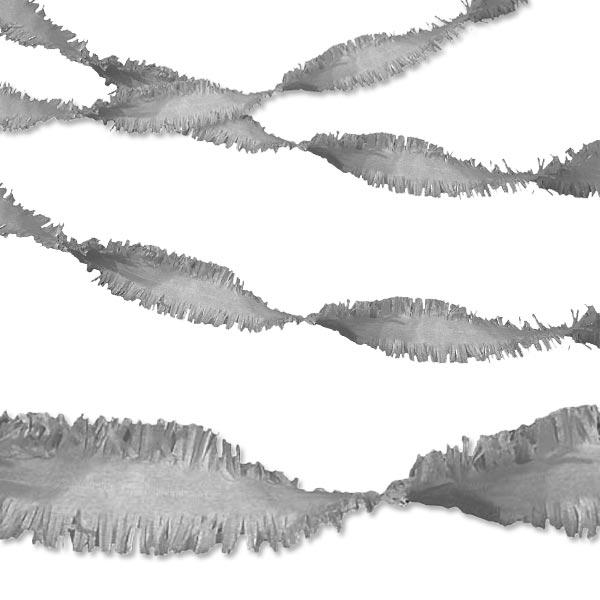 Drehgirlande silber 24m aus Krepp, ideal für 25. Geburtstage, Jubiläen